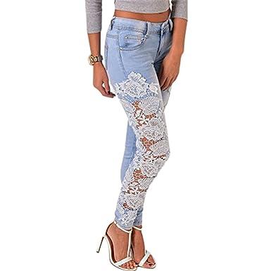 Longra Vaqueros, Mujeres Flor de Encaje Pantalones Jeans ...