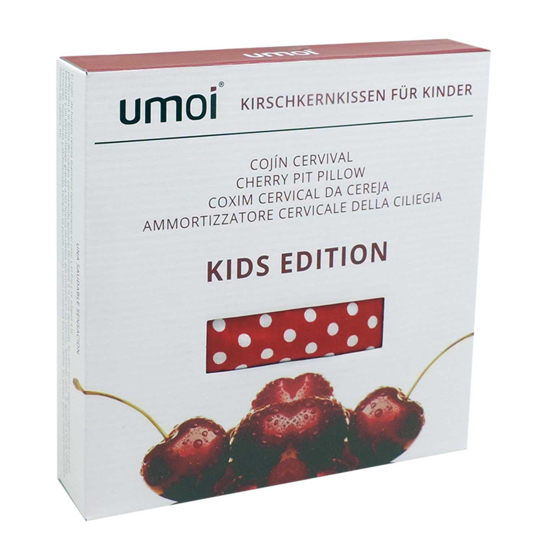 UMOI Cuscino per bambini termico con noccioli di ciliegia allinterno e con rivestimento naturale in cotone 100/% KIDS EDITION