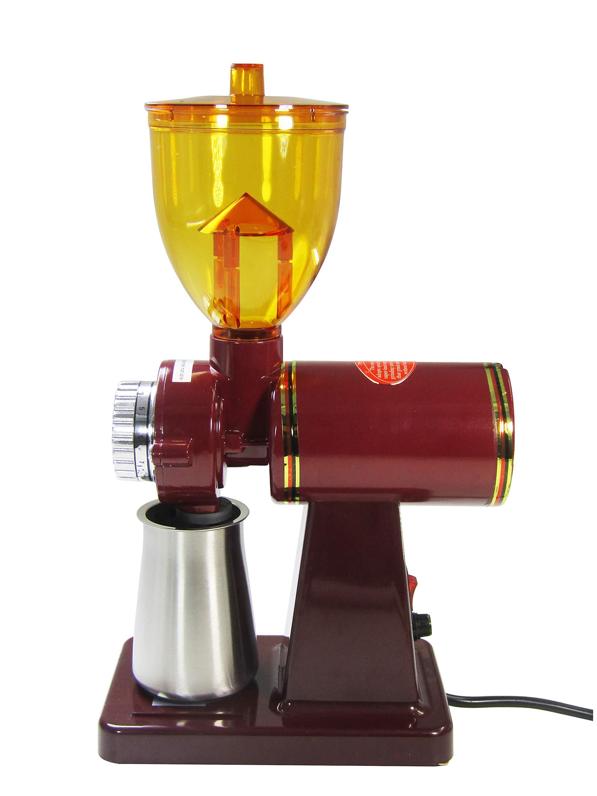 JIAWANSHUN 250g Automatic Coffee Burr Grinder Coffee Burr Mill Coffee Bean Grinder (110V, Red)