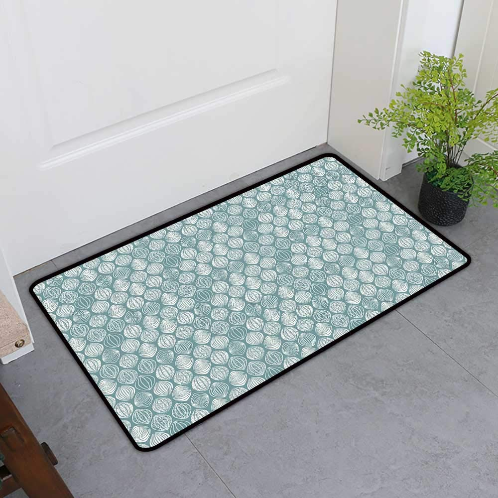 TableCovers&Home Absorbs Mud Doormat, Geometric Decorative Rugs for Kitchen, Different Type of Oval Figures Doodle Round Leaf Textured Harvest Graphic (Coconut Turquoise, H36 x W60)