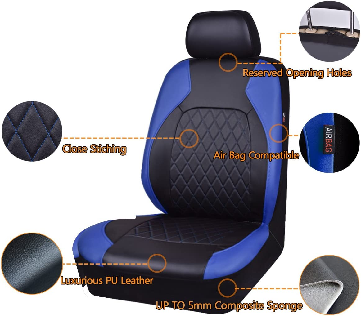 HORSE KINGDOM Universal Car Seat Covers Faux Leather Full Seat 11 pcs Airbag Compatible for Car Truck Black with red SUV Red for Women Girls