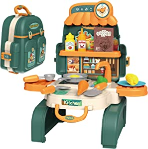 D-FantiX Backpack Kitchen Set for Kids, 3 in 1 Kids Mini Kitchen Pretend Play Toys Cooking Playset with Play Pots and Pans Set, Food, Cookware Utensil Accessories Gift for Toddlers Boys Girls
