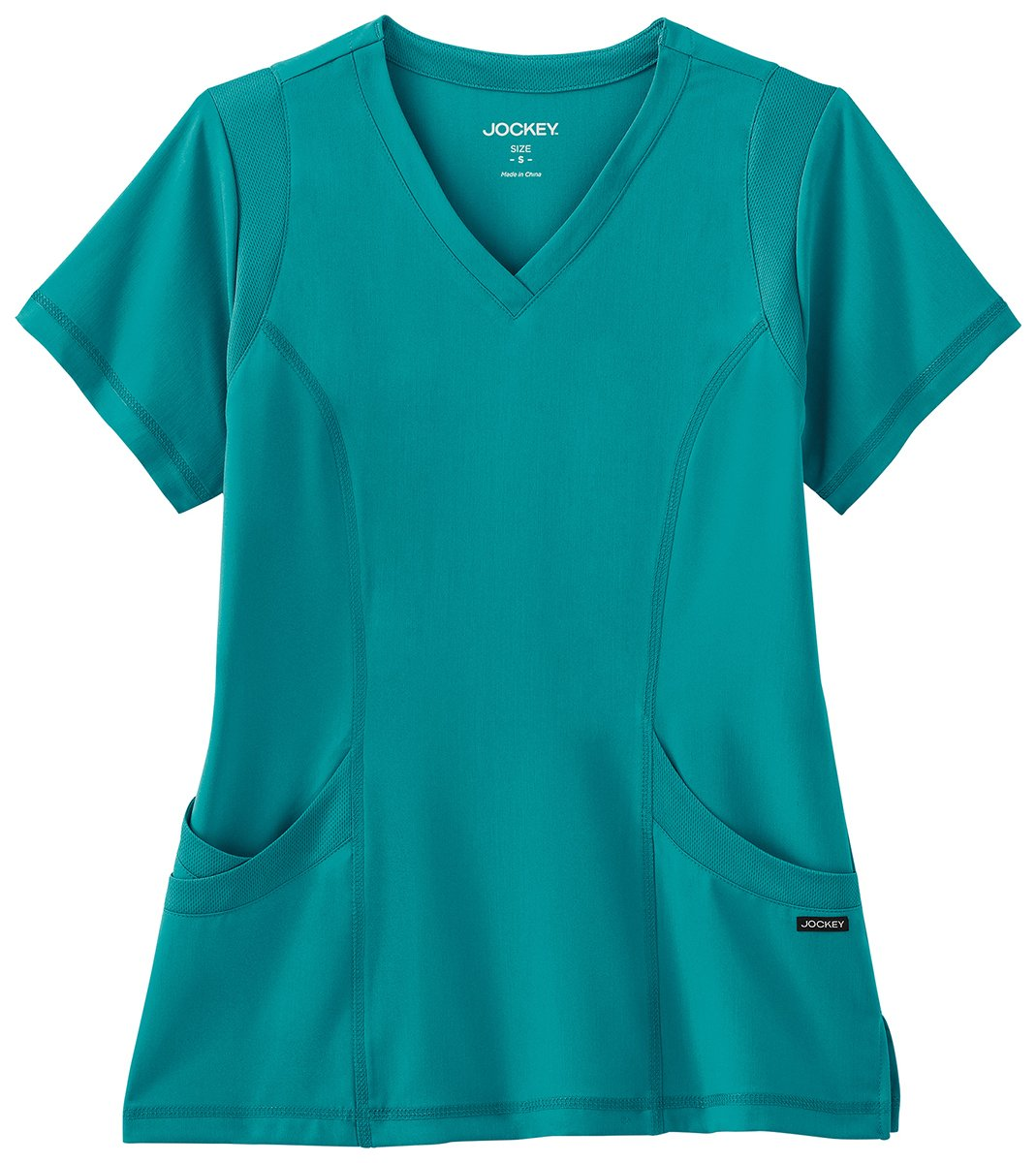 Modern Fit Collection By Jockey Women's Mesh Trim V-Neck Solid Scrub Top XXX-Large Teal