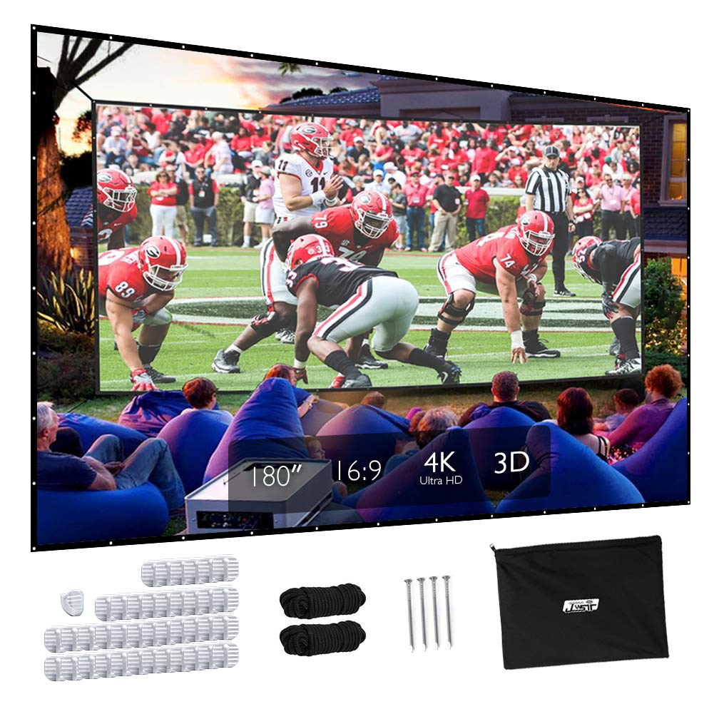 Projector Screen, Upgraded 180 inch 4K 16:9 HD Portable Projector Screen, Premium Indoor Outdoor Movie Screen Anti-Crease Projection Screen for Home Theater Backyard Movie.