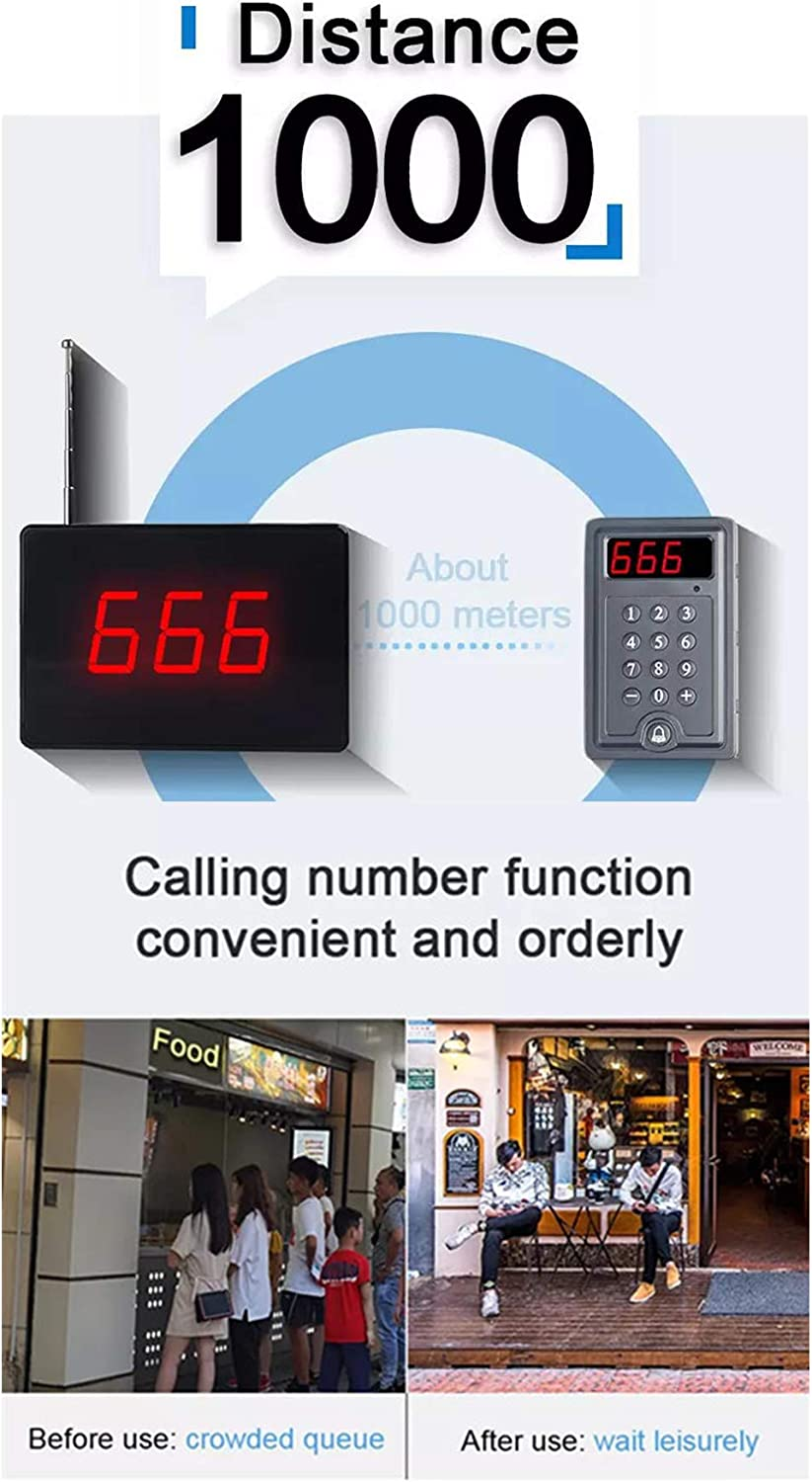 Wireless Calling System Take A Number Calling System Restaurant Pager System Queue Number System with 1PC Display Receiver+1 Keypad for Bank Clinic Nursing Home Caregiver