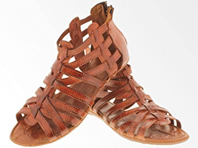 f5a7b699eb11 Cowboy Professional Women s 201 Rustic Cognac Leather Gladiator Zip Up Mexican  Huaraches Open Toe 5