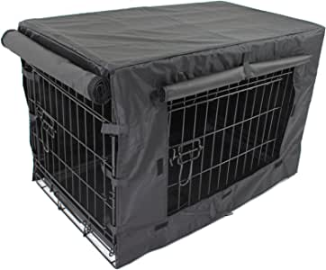 "Pet Dog Crate + Waterproof Cover | Metal Folding Cage Portable Kennel House Training Puppy Kitten Cat Rabbit with Removable Tray (Small 24"" + Cover)"