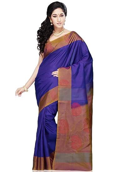 a0b728d5d4ce6c Utsav Fashion Women's Electric Blue Pure Kanchipuram Handloom Silk Saree  with Blouse: Amazon.in: Clothing & Accessories