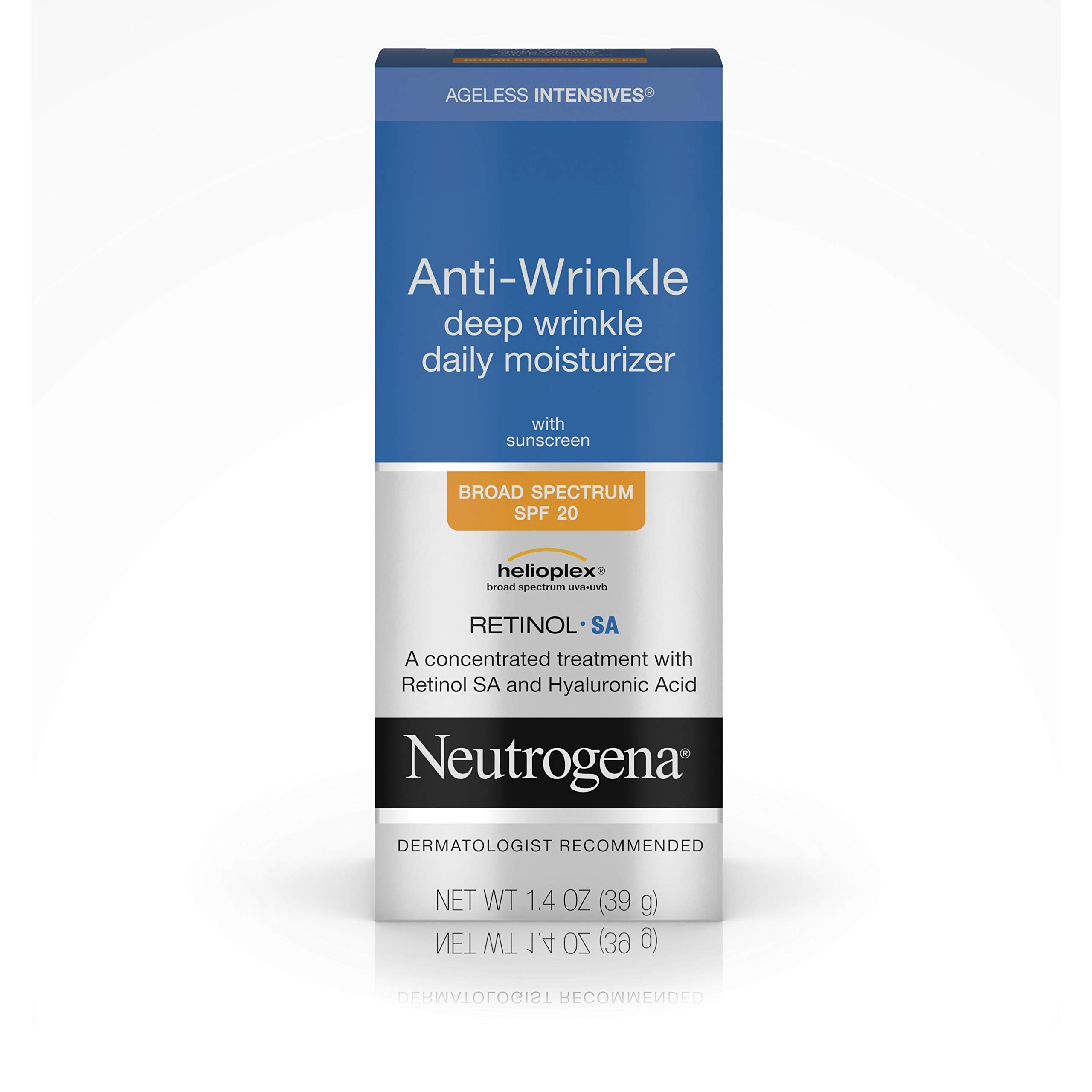Neutrogena Ageless Intensives Anti Wrinkle Cream - Facial Moisturizer with SPF 20 Sunscreen, Retinol and Hyaluronic Acid to Fight Signs of Aging, Retinol, Hyaluronic Acid, Glycerin 1.4 oz by Neutrogena