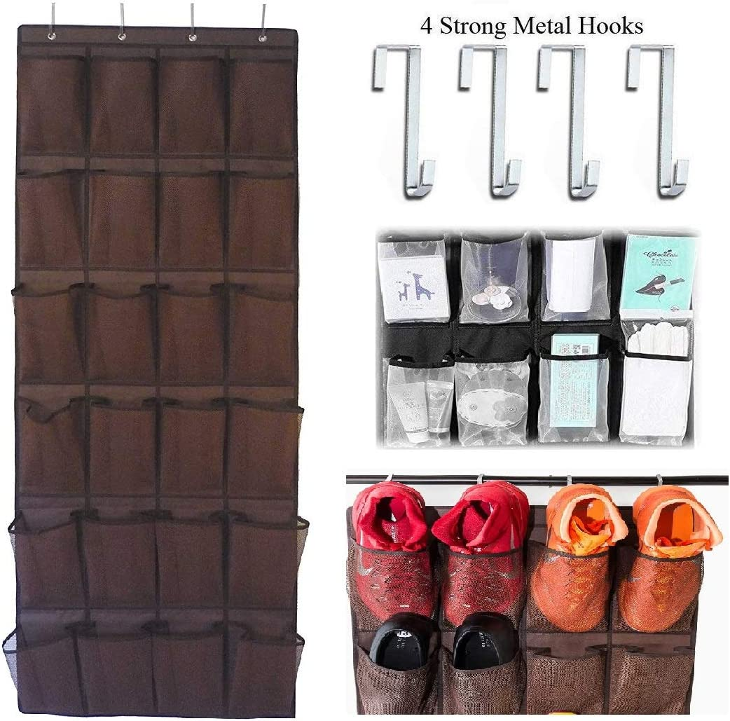 Over the Door Hanging Shoe Organizer, 24 Large Mesh Pockets Shoes Storage and Closet Organizer With 4 Unique Customized Strong Metal Hooks for Kitchen Accessory Holder - Space Saving Solution