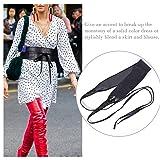 Womens Obi Belt SANSTHS Faux Leather Wrap Sash Belt for Dresses Halloween Costume, Black Plus Size