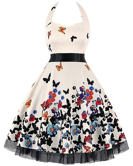 3ec768a9f04bb Women's 50s Vintage Rockabilly Halter Neck Dress Swing Tea Dress Party  Cocktail Gown