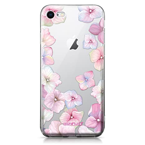 CASEiLIKE® Funda iPhone 8, Carcasa Apple iPhone 8, Hortensia 2257, TPU Gel silicone protectora cover