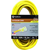 Southwire 2588SW0002 Outdoor Extension Cord- 12/3 American Made SJTW Heavy Duty 3 Prong Extension Cord- Great for Commercial