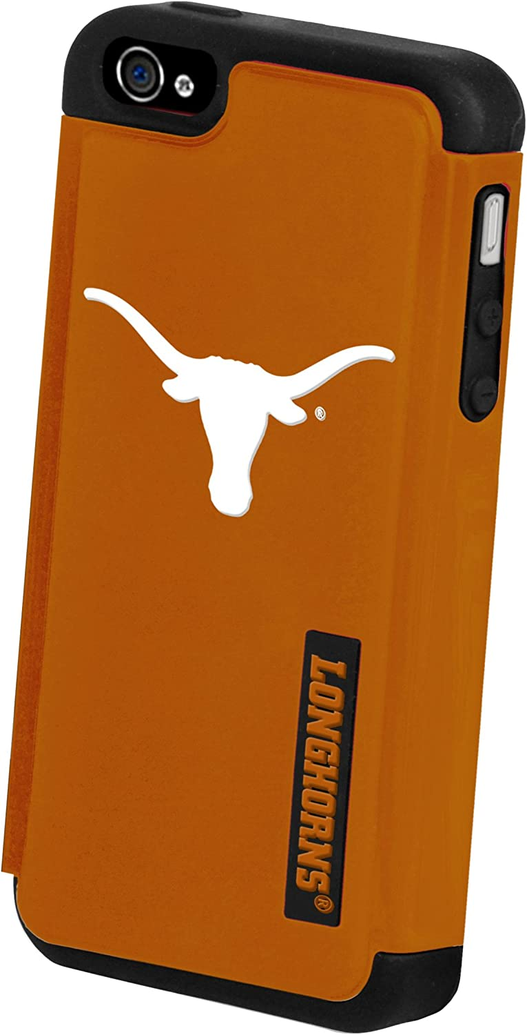 4S Case Forever Collectibles NCAA Texas Long Horns Dual Hybrid Hard Apple iPhone 4