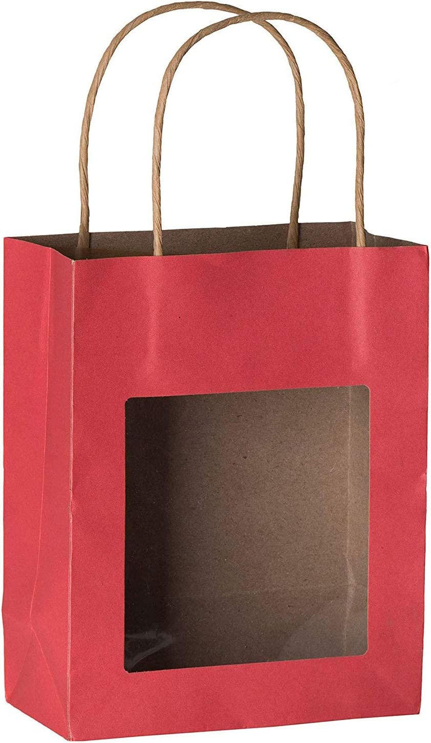 Hammont Red Kraft Paper Bag with Window (10 Pack) - Food Storing Pouches with Handles, Gift Bags with Transparent Window 7.75