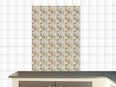 Adesivi piastrelle adesivo per cucina motivo floreale fiori