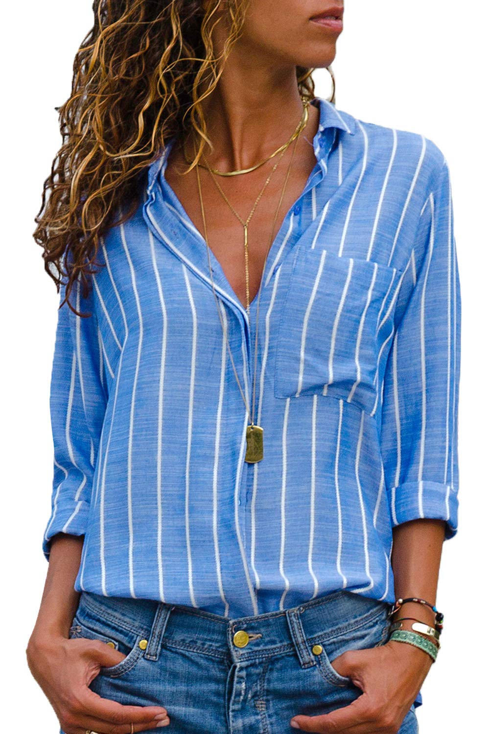 Dokotoo Womens Tops Plus Size Autumn Elegant Striped V Neck Casual Long Sleeve Button Down Henley Shirt Blouses and Tops Blue XX-Large
