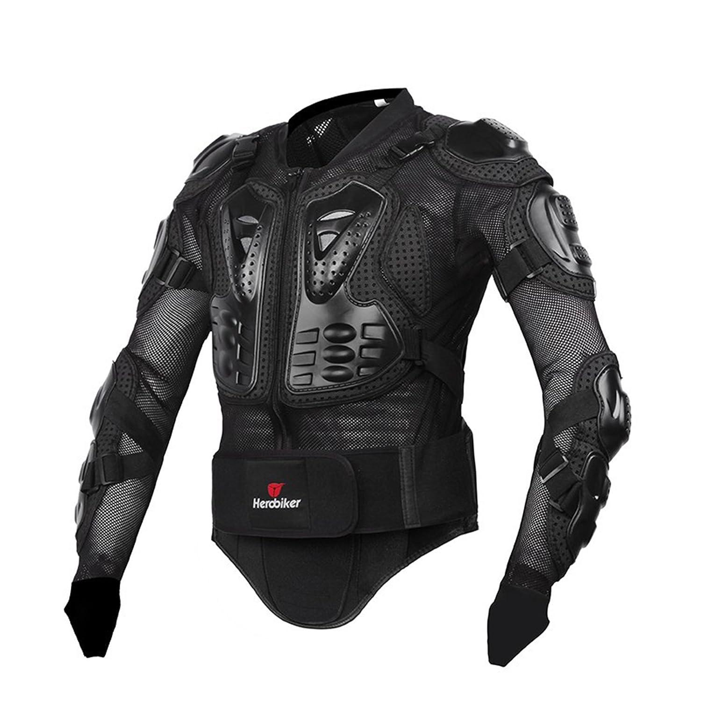 Zyurong, corpetto rinforzato completo, con protezione per la spina dorsale, adatto per motocross, motociclismo, mountain bike, skateboard e snowboard, colore nero