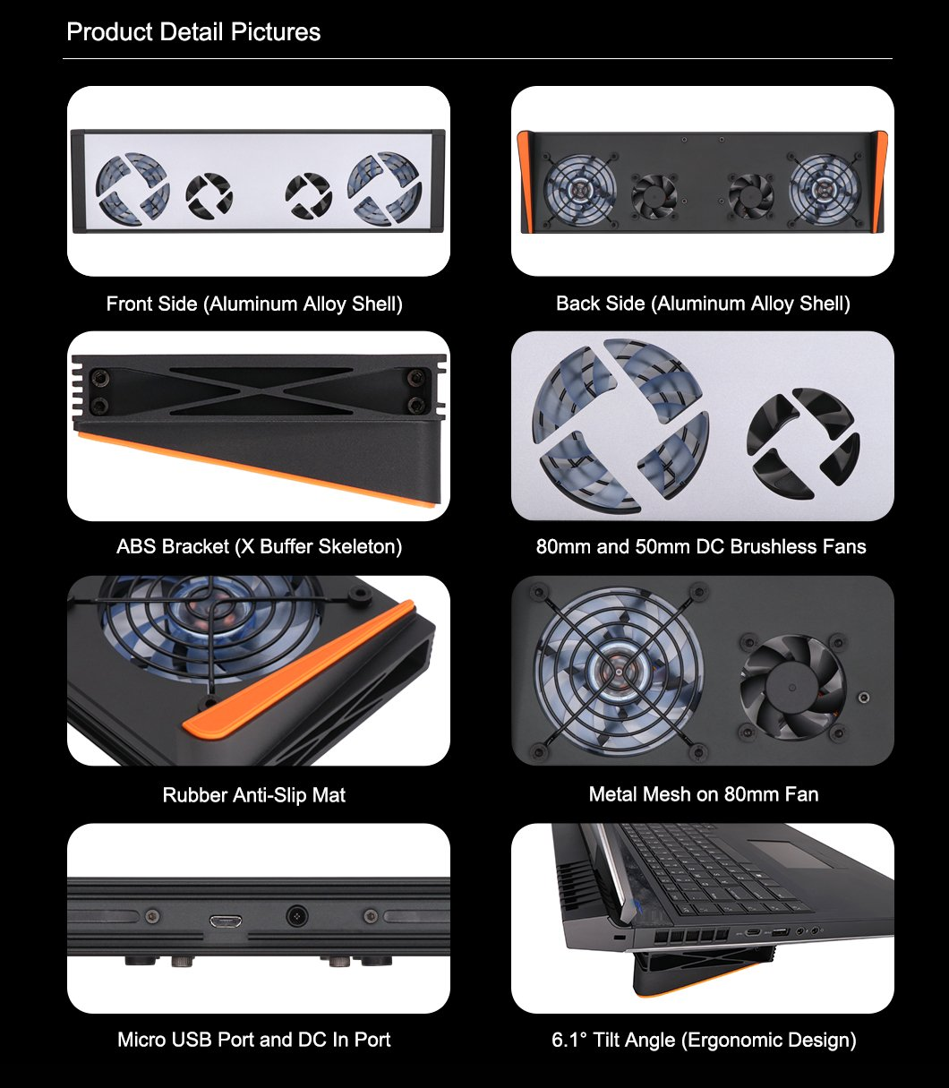 Advancing Gene Smart Laptop Cooler Cooling Pad for Alienware AW17R4 and AW17R5