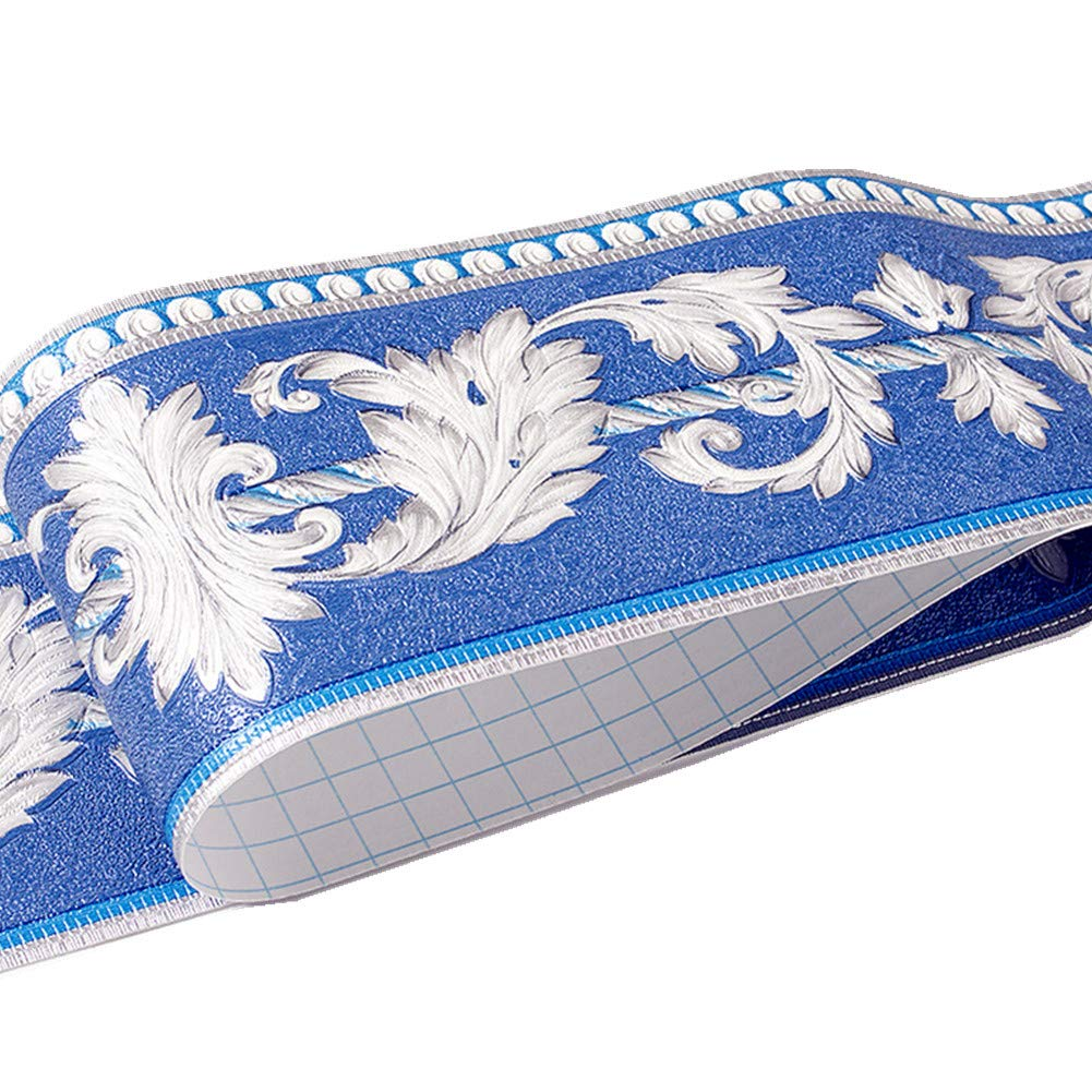 4 pulgadas por 16.4 pies Moldura de patr/ón floral para decoraci/ón del hogar cocina azul ba/ño