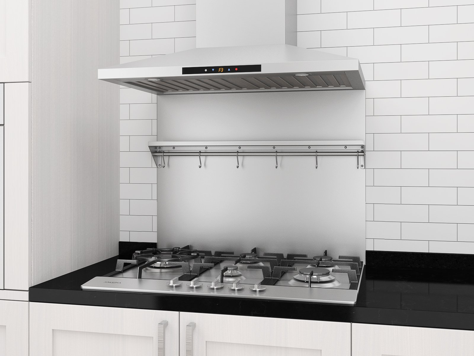 Ancona PBS-1230 30 in. x 30.75 Backsplash with Stainless Steel Shelf and Hooks