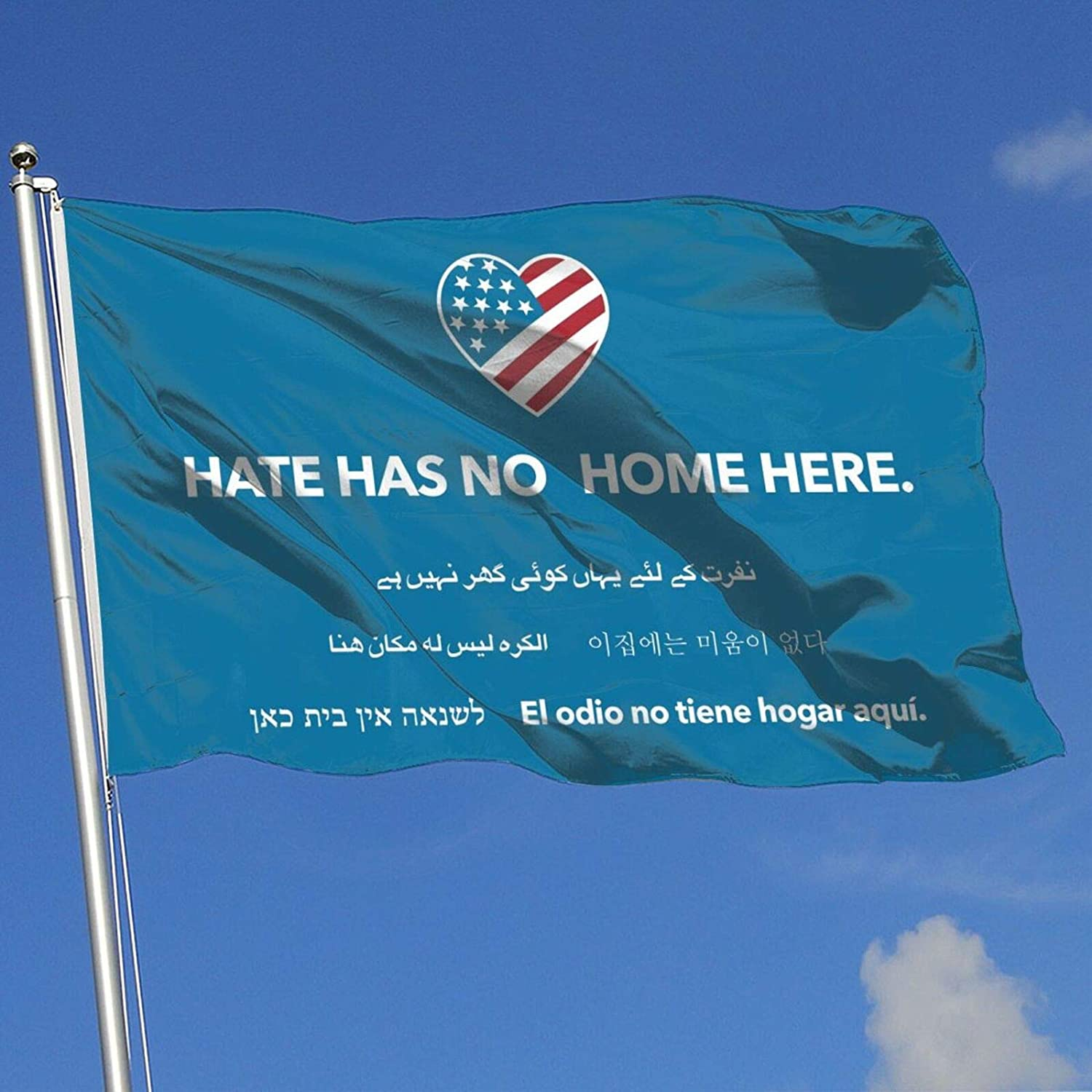 Juhucc Hate Has No Home Here Flag 3x5 Ft American Flag,Outdoor Banner,Family Banner,Garden Banner Black