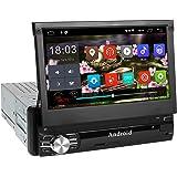 Autoradio Bluetooth, amkle Autoradio GPS 1Din 7'' Écran Android 6.0 Auto Rétractable Tactile - Radio FM/AM/SD/USB/MP5 - Multimédia Player Main Libre - Radio Stéréo Tuner Caméra de Recul Télécommande