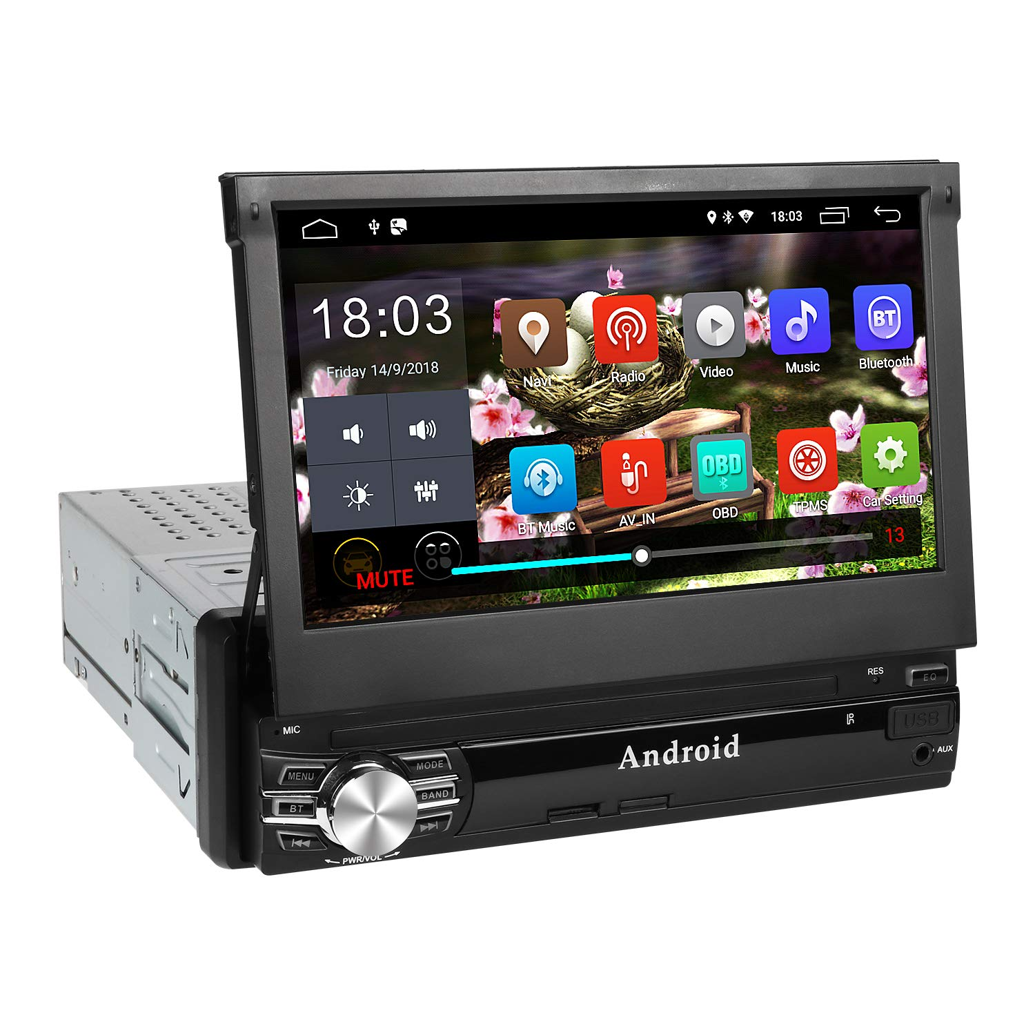 1Din Autoradio, amkle Autoradio Bluetooth 7Zoll Android 6.0 Touchscreen - GPS Navigator - Radio FM/AM/MP3/SD/USB/MP5 - Stereo Video Lenkradsteuerung Media Receiver - Rü ckfahrkamera - Freisprechen