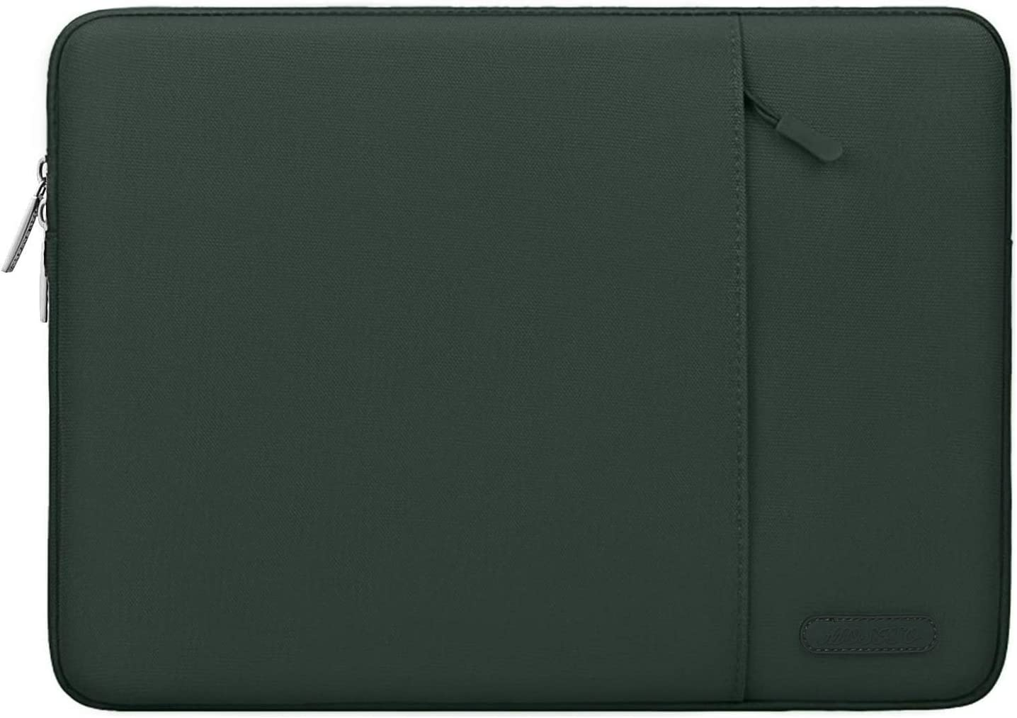 MOSISO Laptop Sleeve Bag Compatible with 13-13.3 inch MacBook Pro, MacBook Air, Notebook Computer, Water Repellent Polyester Vertical Protective Case Cover with Pocket, Midnight Green