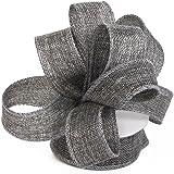 Burlap Ribbon Perfect for Wedding Home Decoration Gift Warp Bows Made Handmade Art Crafts 1-1/2 Inch X 10 Yard Spool (Grey)