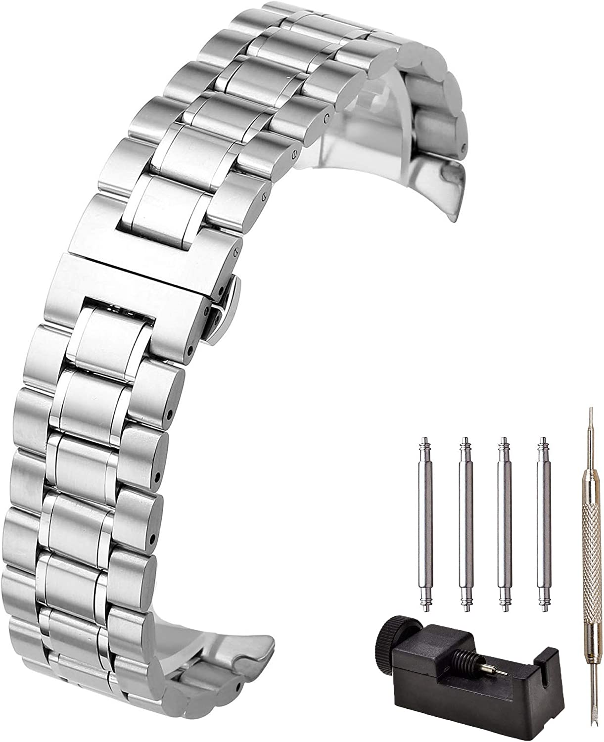 JSDDE Solid Stainless Steel Curved End Link Bracelet Wrist Watch Band Strap Replacement Butterfly Deployant Buckle Double Push Spring Deployment Clasp