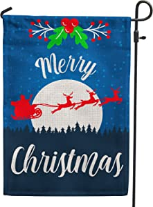 Hollyhorse Merry Christmas Garden Flags for Outside Decoration - 12x18 Double Sided Elk Burlap Flag Outside Decoration for Yard Outdoor Decor