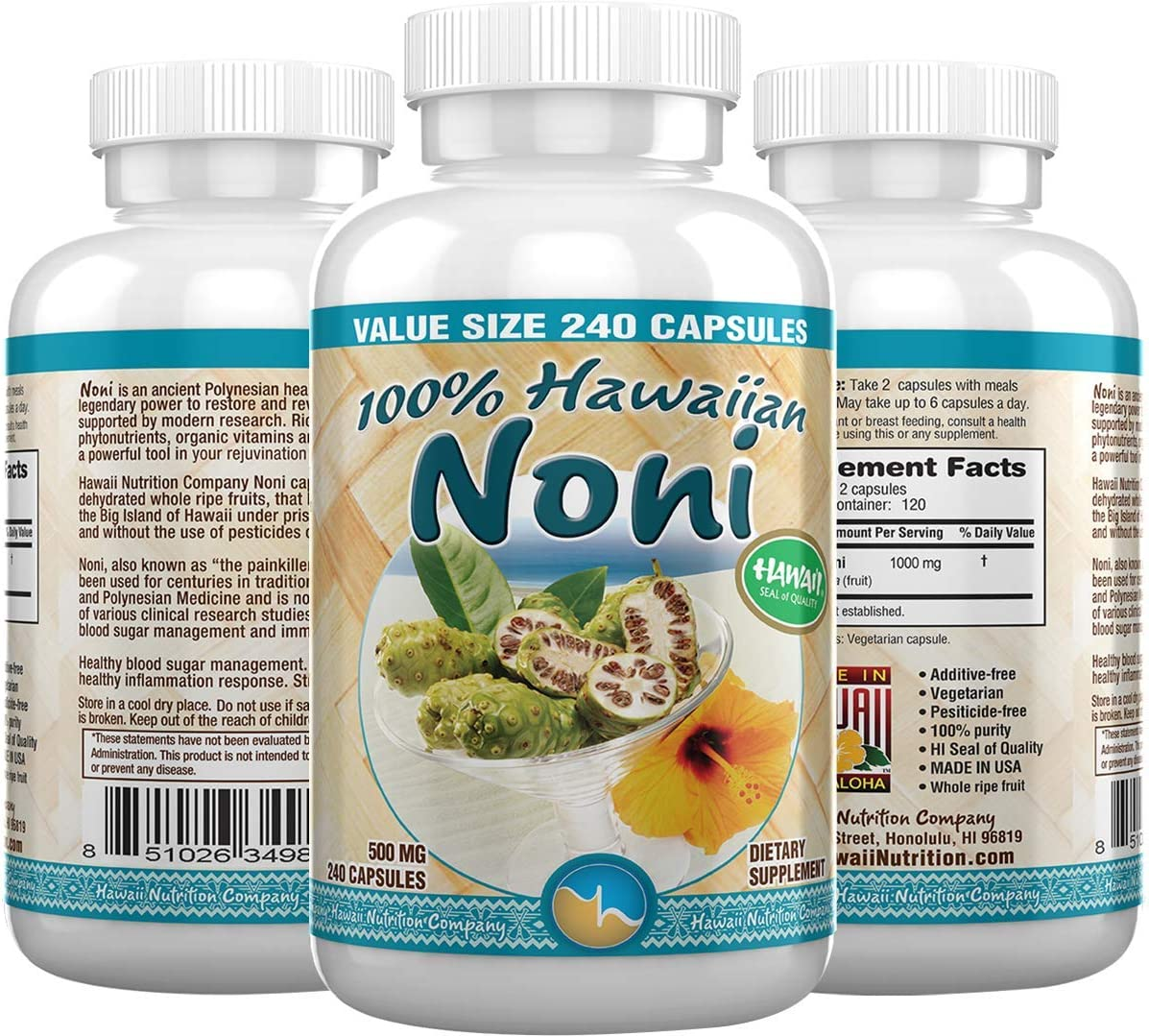 Hawaii Nutrition Company – Noni – 100 Grade A Noni Fruit Capsule – 240 Capsules – Boost Your Immune System, Manage Muscle Joint Pain, Improve Digestion