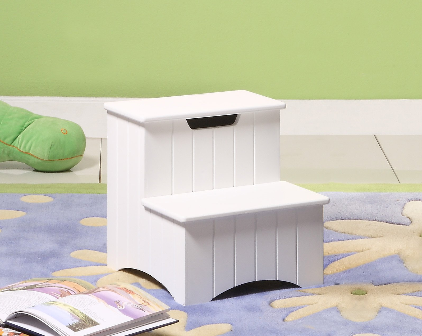 Kings Brand White Finish Wood Bedroom Step Stool With Storage