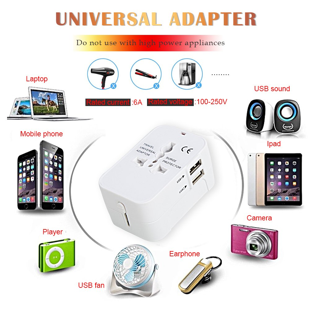 Travel Adapter All in One Universal Adapter for USA EU UK AUS Europe, AC Wall Outlet Charger Plug Adapter Converter, Worldwide Adapter with Dual USB Charging Ports for Cell Phone Laptop (White) by BiBOSS (Image #8)