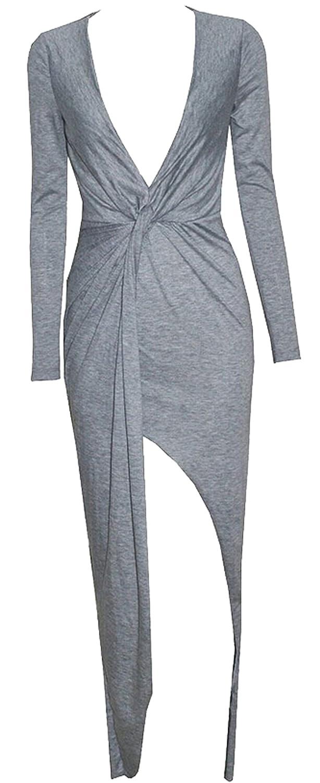 Unko Women's Sexy Deep V-Neck Long Dress Slit Mini