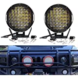 Turbo SII CREE Pair 9 Inch Round 225W Indensity Led Spot Light For offroad 4wd 4x4 JEEP FORD TOYOTA Pickup Auxliary Front Bumper Light Bar Replacement/Roof Driving Headlight 8000LM(45PCS5W) Black