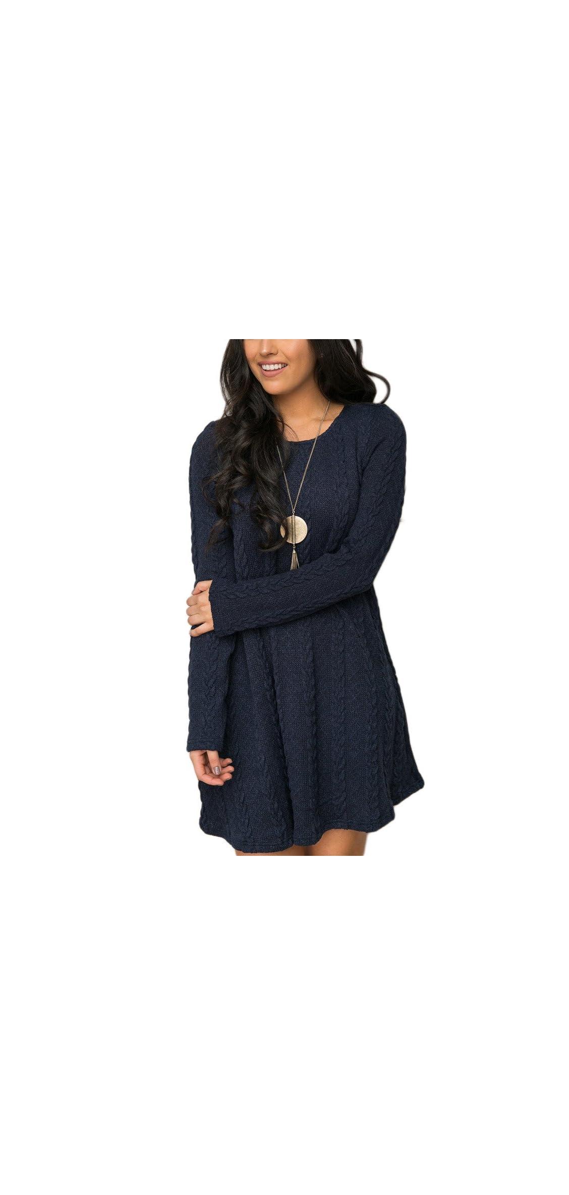 Womens Knitted Crewneck Sweater Dress