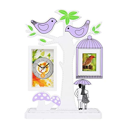 Buy Tuelip Tree Shape with Cute Couple Table Clock & 1 Photo Frame ...