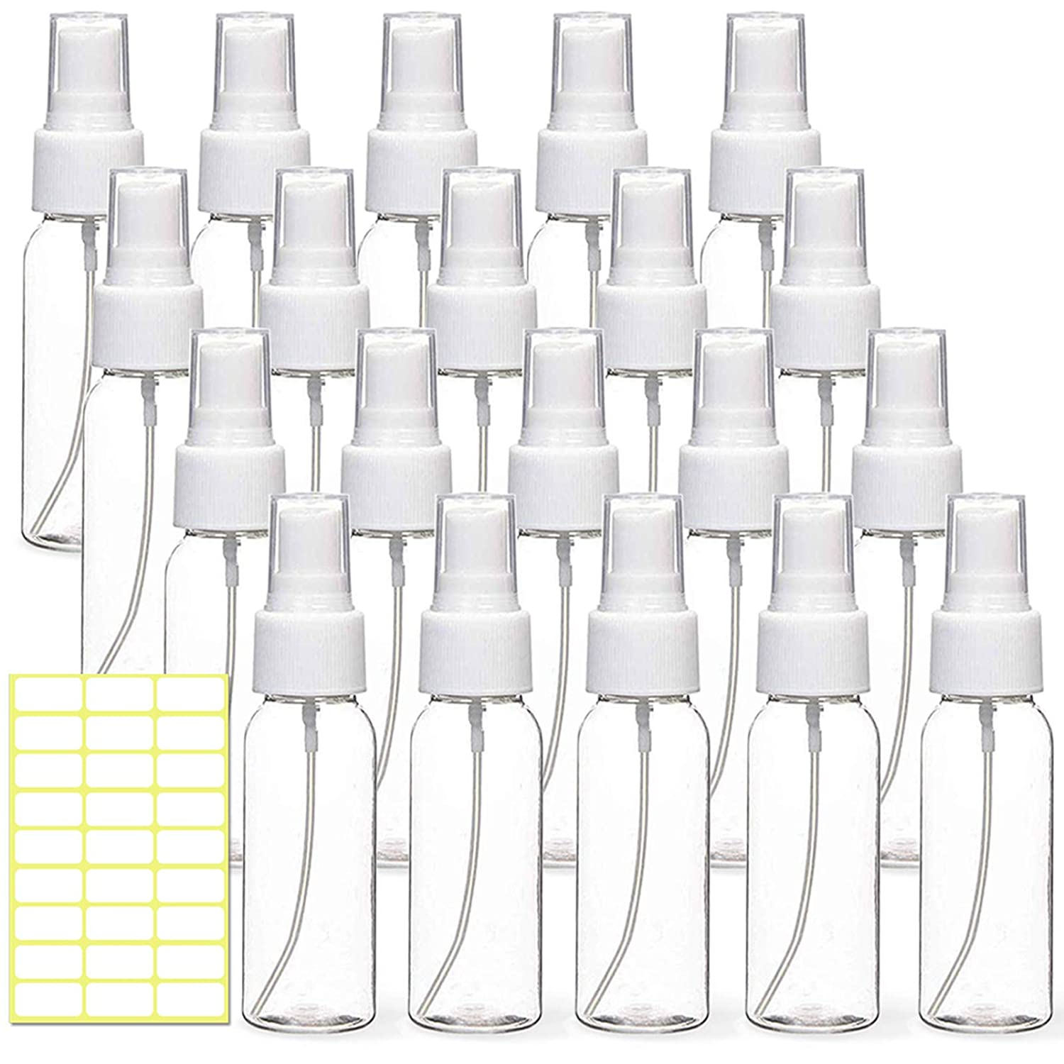 MEACOLIA 20 Pack 30ml(1oz) Extra Fine Mist Mini Clear Spray Bottles with Atomizer Pump Sprayer Bulk Refillable Reusable Empty Plastic Travel Size Bottles for Essential Oils,Cleaning,Perfumes