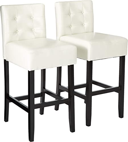 Christopher Knight Home Tate Tufted Leather Back Barstools
