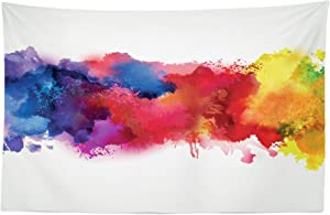 """Lunarable Abstract Tapestry, Vibrant Stains of Watercolor Paint Splatters Brushstrokes Dripping Liquid Art, Fabric Wall Hanging Decor for Bedroom Living Room Dorm, 45"""" X 30"""", Yellow Blue"""
