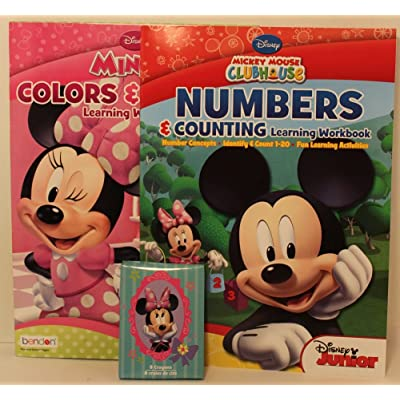 Disney Preschool Learning Gift (3 items): Mickey Mouse Numbers & Counting - Minnie Mouse Colors & Shapes Learning Workbooks, 8-pack crayons: Toys & Games