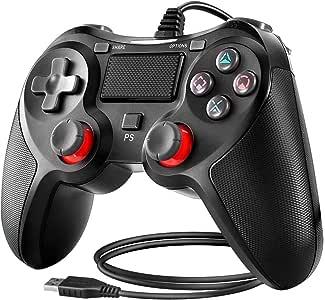 BuFan Mando PS4, Joysticks con Seis ejes Dual Vibration Gamepad para PS4 / PS3 / PC (Windows XP/7/8/8.1/10) /Android/Steam, Negro: Amazon.es: Videojuegos