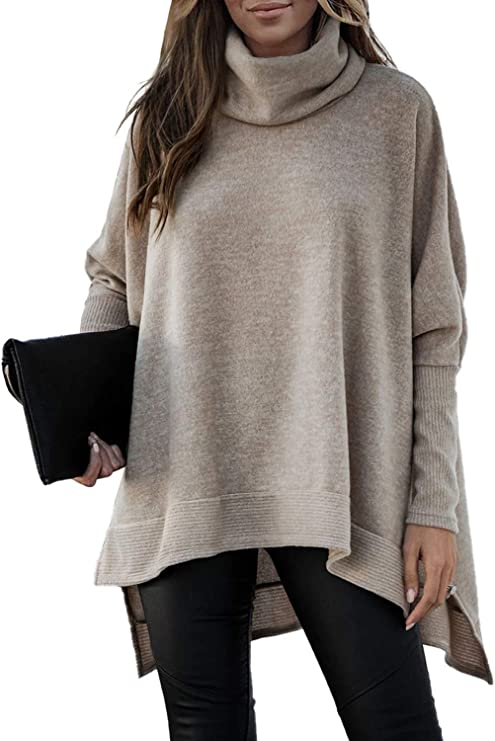 Womens Long Sleeve Cowl Neck Knit Solid Color Pullover