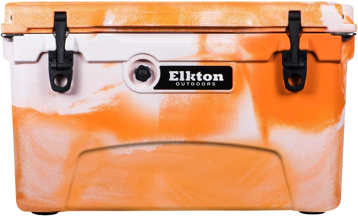 Elkton Outdoors Ice Chest. Heavy Duty, High Performance Roto-Molded Commercial Grade Insulated Cooler, 45-Quart