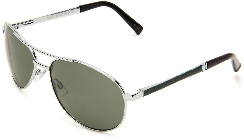 739f407cc5 Amazon.com  Steve Madden Men s S3013P SLVGR Polarized Aviator Sunglasses