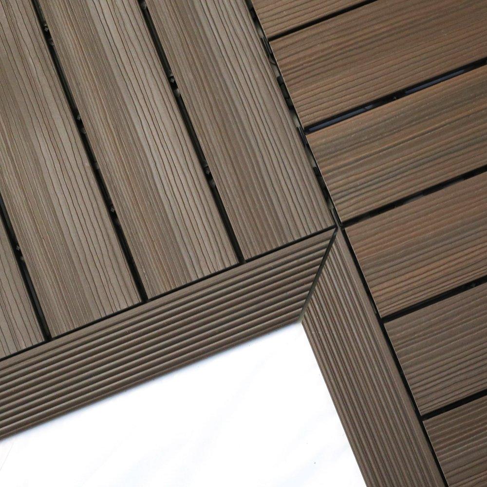 NewTechWood QD-IF-WN QuickDeck Composite Deck Tile Inside Corner Trim, 2-Inch x 1-Feet, Spanish Walnut, 2-Piece