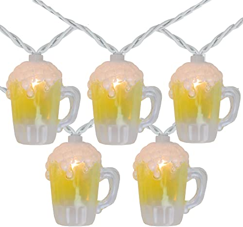 10-Count Beer Mug Summer Outdoor Patio String Light Set, 7.25ft White Wire
